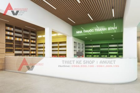 Thiết kế nội thất nhà thuốc hiện đại 100m2 ở Thanh Hóa