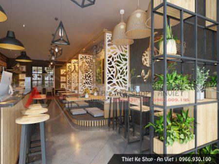 Mẫu thiết kế nội thất quán Cafe hiện đại, sang trọng 100m2 tại Hà Nội