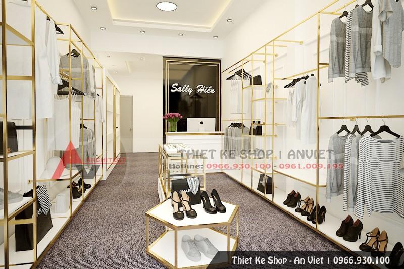 Mẫu thiết kế nội thất shop thời trang đẹp mắt 30m2 ở Hà Nội
