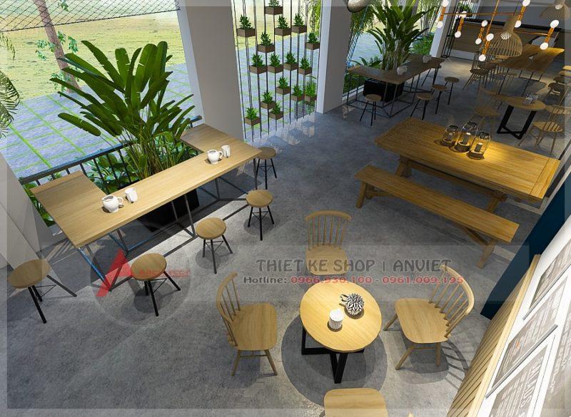 Mẫu thiết kế quán cafe đẹp bình dân giá rẻ 200m2 tại Hưng Yên