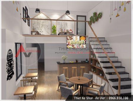 Mẫu thiết kế quán trà sữa nước trái cây 50m2 Dương Nội HĐ