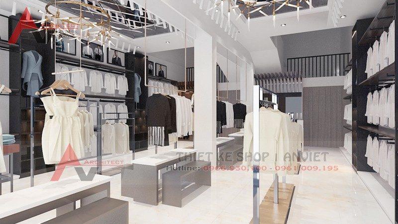 Mẫu thiết kế shop thời trang nam sang trọng 55m2 Ninh Hiệp