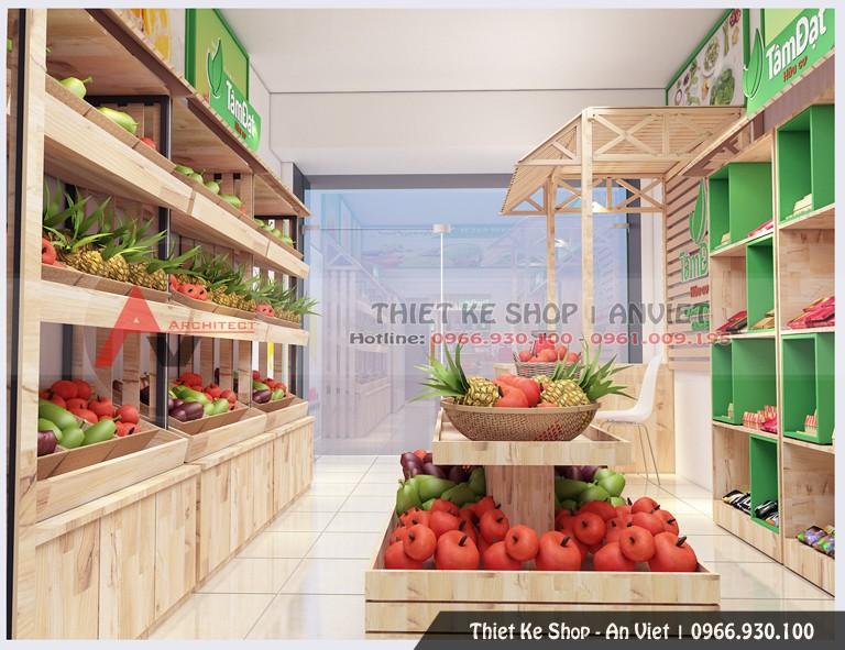 Ở gian trog bên phải, phần nội thất cũng vô cùng đơn giản và được thiết kế gọn gàng. Sử dụng hệ thống kệ gỗ thông ghép thanh, chúng tôi đem lại cho không gian của cửa hàng sự thân thiện với môi trường, sức khỏe của con người. Chúng tôi đặt 12 chiếc kệ gỗ với kích thước khác nhau nhưng chung một kiểu dáng theo sát tường giúp tiết kiệm diện tích. Ở giữa là hai dãy kệ khác cũng được thiết kế với kiểu dáng vô cùng đơn giản, tạo cảm giác thoải mái cho khách tới mua hàng. Với bố cục đơn giản nhưng gọn gàng, việc mua hàng trở nên dễ dàng và thuận tiện hơn, đặc biệt là khi khách muốn lựa chọn các mặt hàng khác nhau.