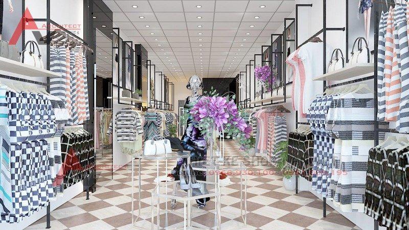 Thiết kế nội thất shop thời trang quần áo 40m2 tại Hưng Yên