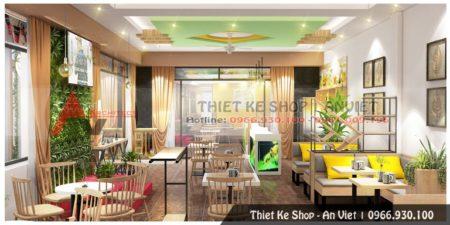 Thiết kế quán trà sữa đẹp thu hút khách 200m2 tại Hải Dương