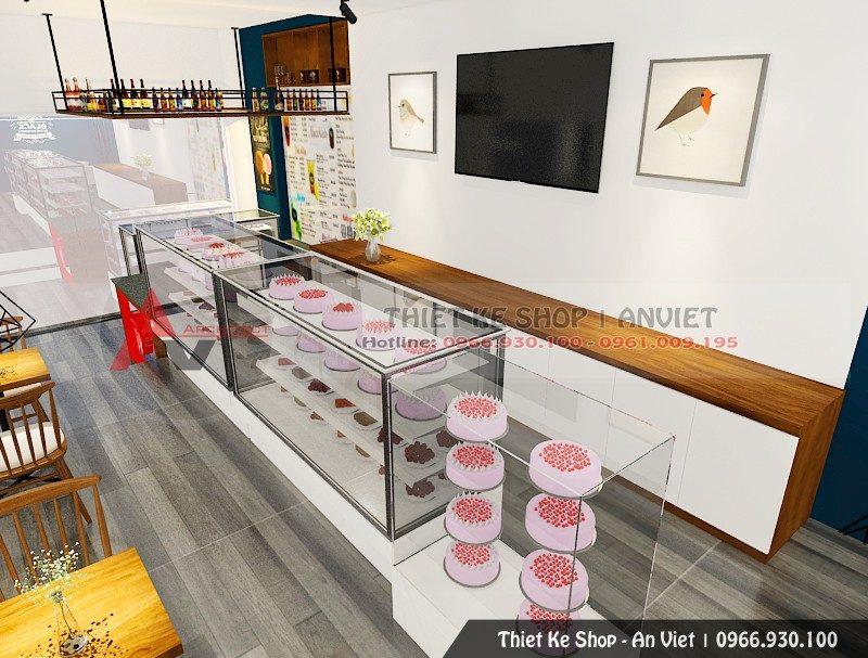 Thiết kế quán trà sữa bánh ngọt 40m2 Lê Thanh Nghị Hà Nội