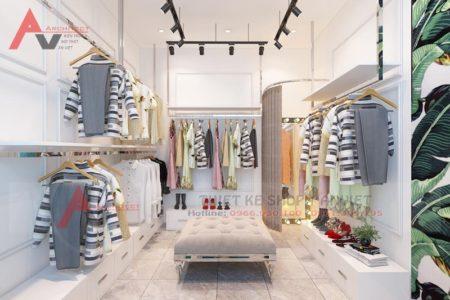 Điểm nhấn phong cách thiết kế shop thời trang nữ 30m2 tại Vĩnh Phúc