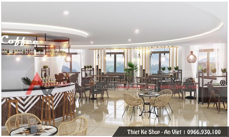 Trang trí nội thất cho quán coffe 200m2 tại Đồng Đăng Lạng Sơn