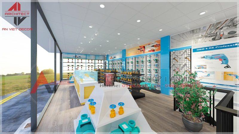 Thiết kế showroom trưng bày VLXD 60m2 tại Hà Nội