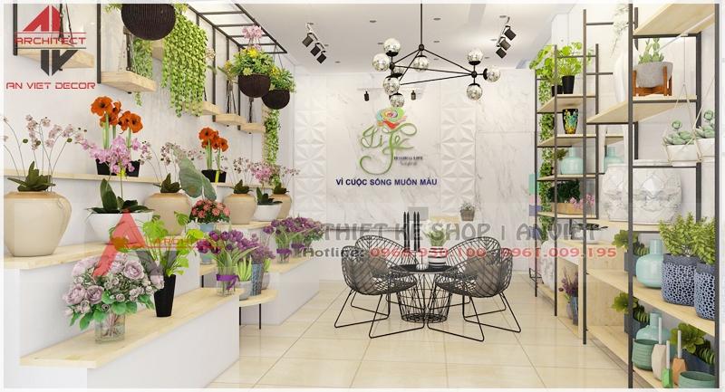 Thiết kế cửa hàng hoa cây cảnh 40m2 tại Hà Nội