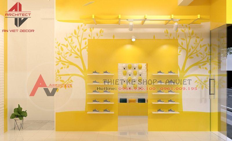 Thiết kế cửa hàng quần áo trẻ em nhỏ đẹp 35m2 ở Hà Nội