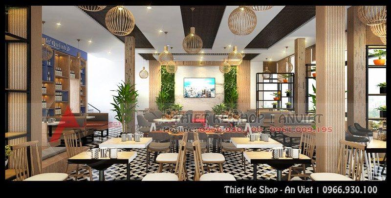 Thiết kế quán cafe hiện đại đẹp mê ly 240m2 tại Hải Dương