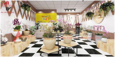 Thiết kế nội thất shop hoa cảnh 40m2 Chợ Hoa Quảng Bá HN