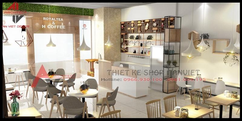 Thiết kế thi công hoàn thiện nội thất Quán Cafe Trà Sữa 60m