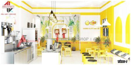 Thiết kế nội thất Tiệm Trà Chanh TLove NKT 360m2 HN