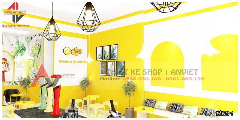 Thiết kế nội thất cửa hàng Trà Chanh TLove NKT 360m2 HN