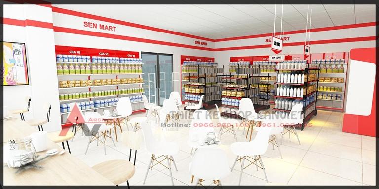 Thiết kế nội thất Siêu Thị Mini SenMart 100m2 Hà Nội