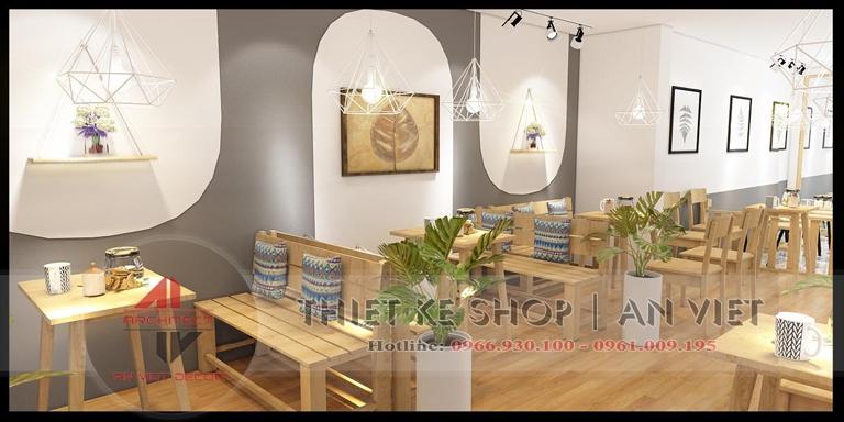 Trang trí tường quán trà chanh đơn giản mà đẹp tại Hà nội