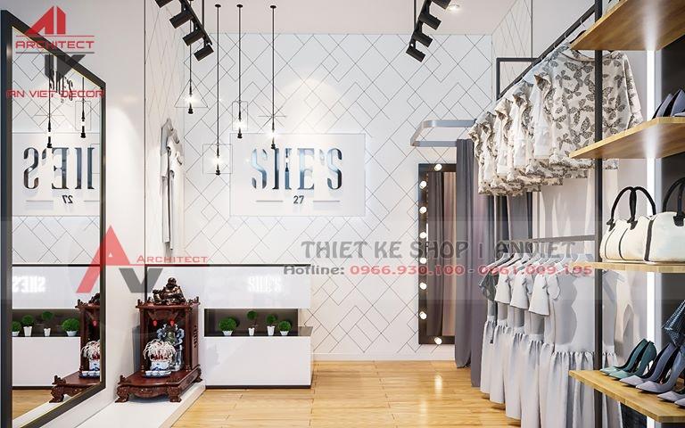 Thiết kế shop thời trang nữ HIỆN ĐẠI NHỎ ĐẸP 30m ở HN