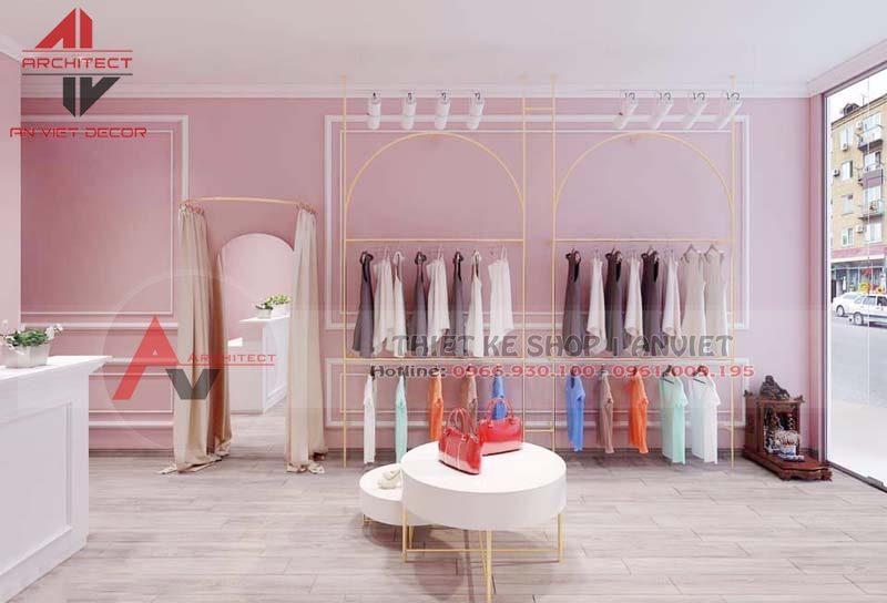 Thiết kế shop thời trang nữ tone hồng dễ thương 30m2 tại Hà Nội