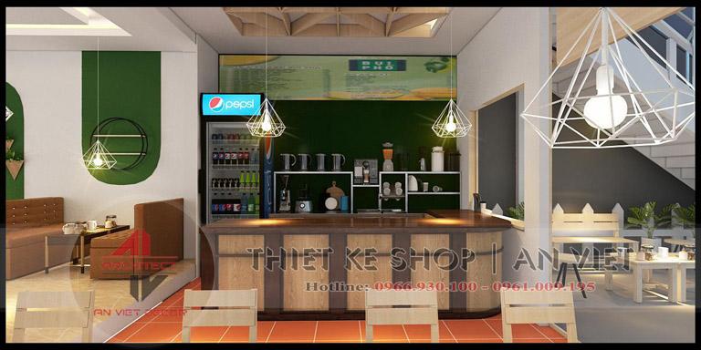 Thiết kế khu vực quầy tính tiền, quầy pha chế quán trà chanh