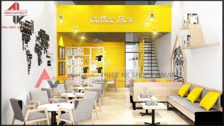 Thiết kế quán cafe trà sữa đơn giản mặt tiền 5m tại Hà Nội