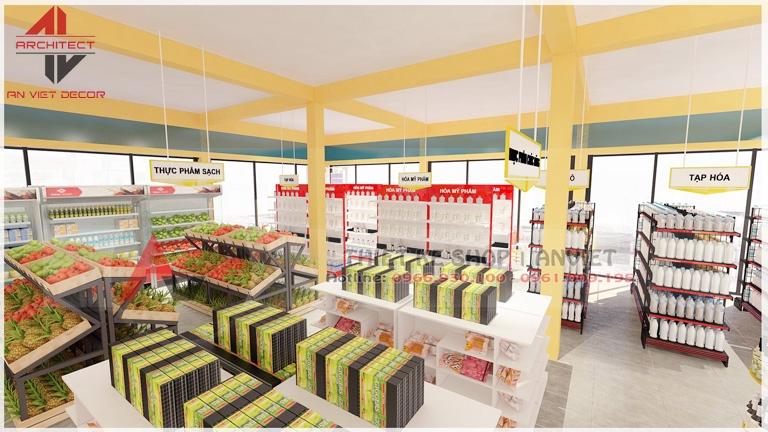 mẫu trang trí nội thất siêu thị 2 tầng - khu vực kệ trưng bày hàng hóa
