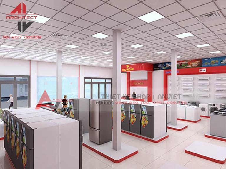 Thiết kế trang trí nội thất siêu thị ĐIỆN MÁY - ANVIET