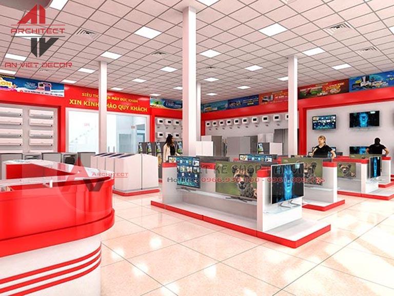 Mẫu thiết kế cửa hàng siêu thị ĐIỆN MÁY sang trọng