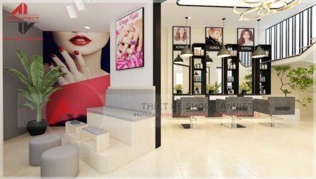Thiết kế tiệm cắt tóc nail ĐƠN GIẢN 70m2 tại Hà Nội