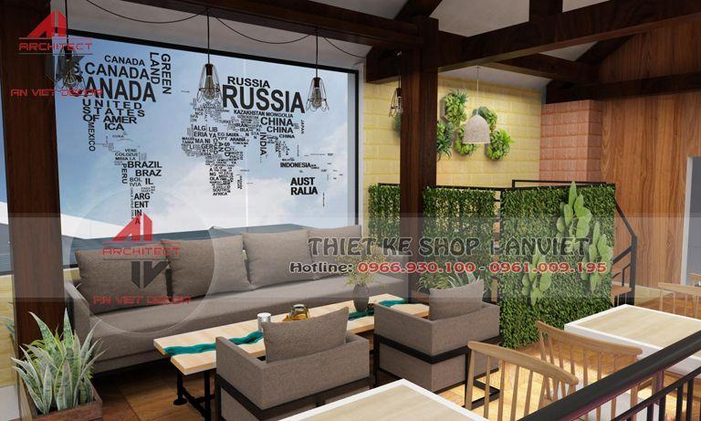 bộ ghế salon cho khách ngồi tại quán cà phê Mộc