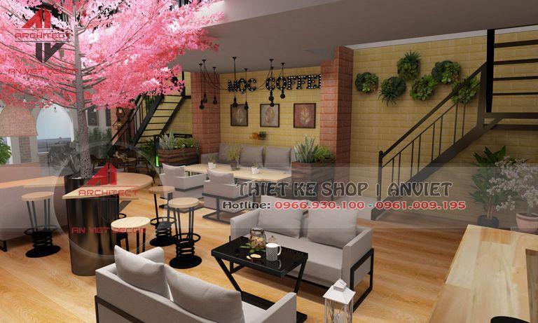 một góc tầng 1 của quán cà phê Mộc