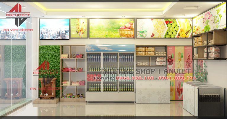 thiết kế nội thiết cửa hàng hoa quả sơn tây