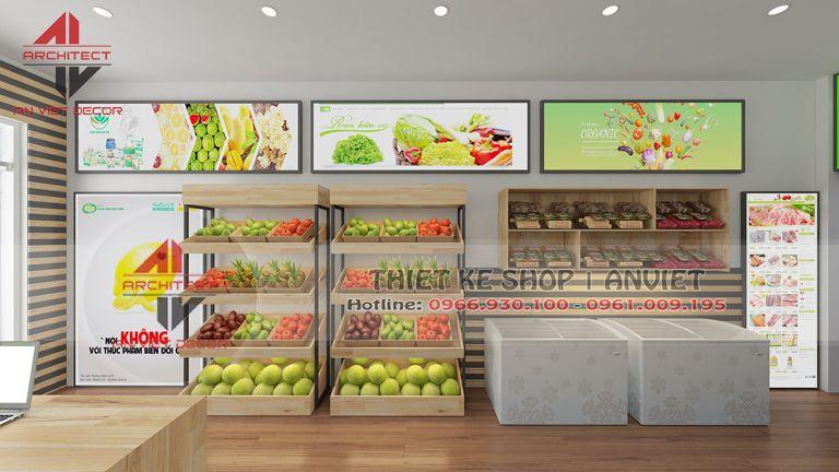 thiết kế cửa hàng thực phẩm sạch tại lim