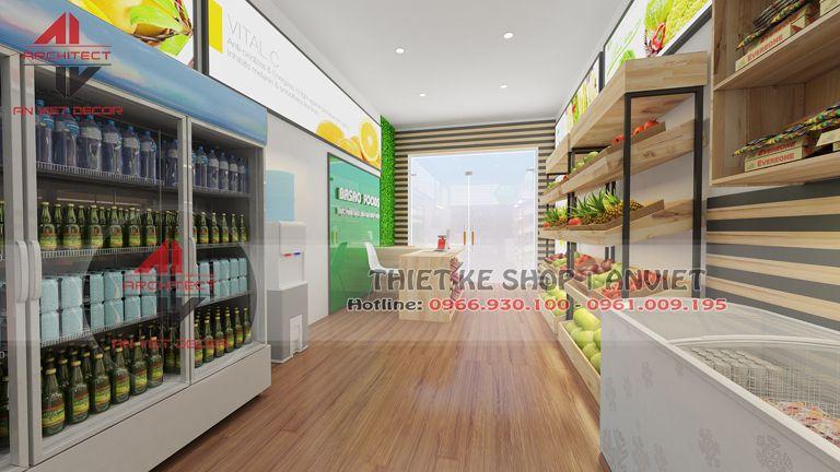 trang trí cửa hàng thực phẩm sạch ấn tượng