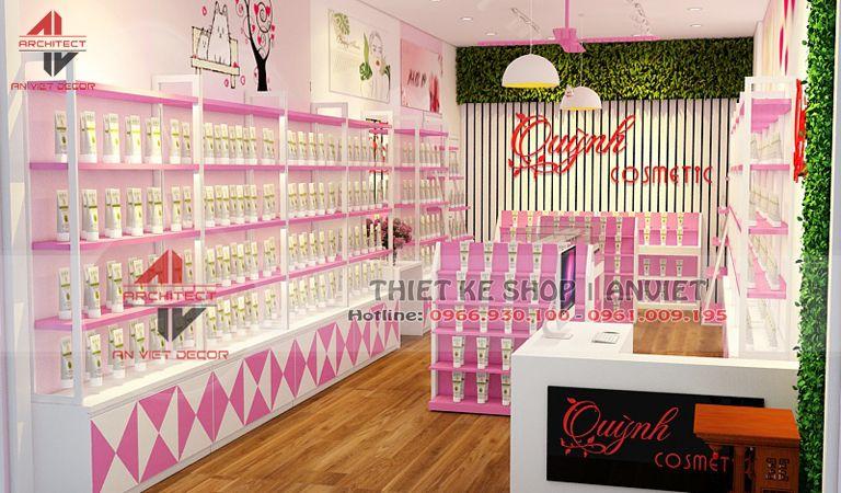 Thiết kế shop mỹ phẩm với tone màu hồng cực ĐỘC ĐÁO tại Trâu Qùy