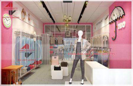 Thiết kế shop thời trang nữ 40m2 tại Đông Anh – Hà Nội