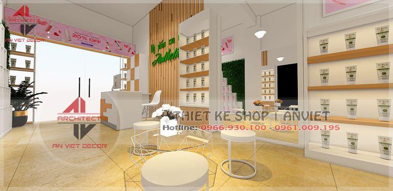 Thiết kế cửa hàng bán mỹ phẩm 50m2 HIỆN ĐẠI tại Châu Quỳ