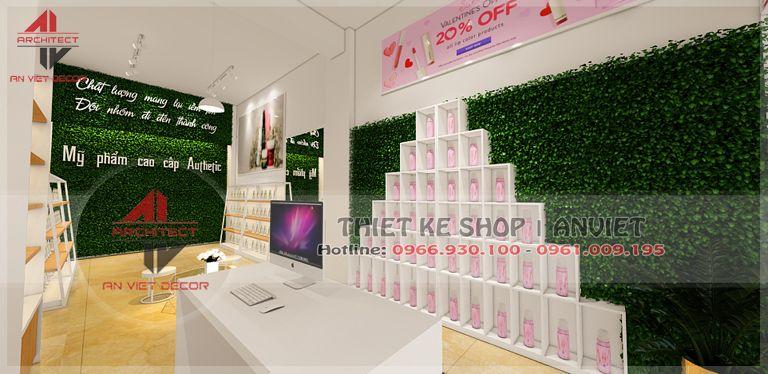 trang trí cửa hàng mỹ phẩm tại châu quỳ