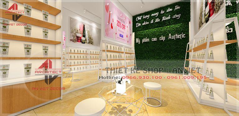 trang trí nội thất cửa hàng mỹ phẩm tại châu quỳ đẹp và hiện đại