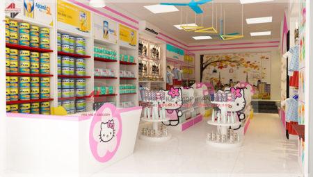 Thiết kế cửa hàng siêu thị mini mẹ và bé 50m2 tại Hưng Yên