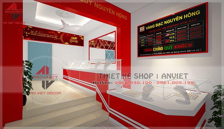 thiết kế nội thất cửa hàng vàng bạc tại Hoài Đức