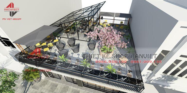 trang trí không gian ngoài trời của quán cà phê tại Ninh Bình