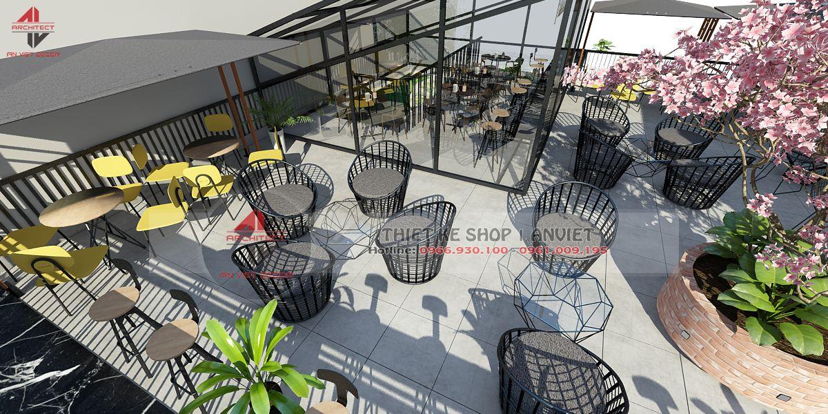 thiết kế không gian bên ngoài của quán cafe Ninh Bình