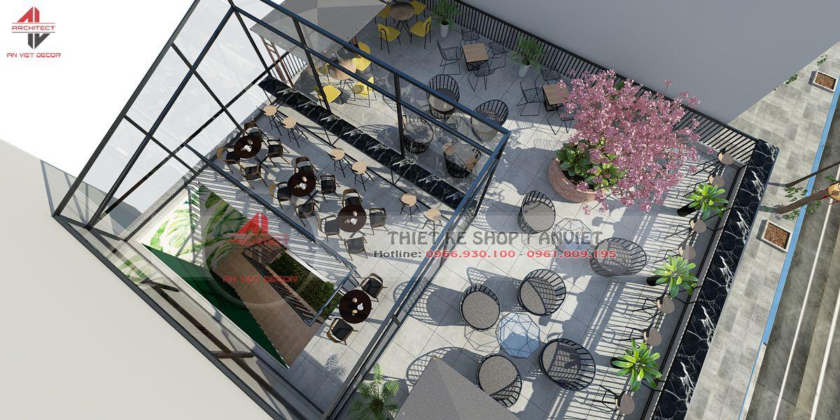 toàn cảnh không gian bên ngoài của quán cà phê 2 tầng tại Ninh Bình