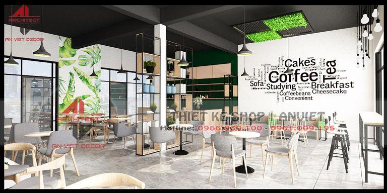 trang trí nội thất quán cà phê 2 tầng tại Ninh Bình