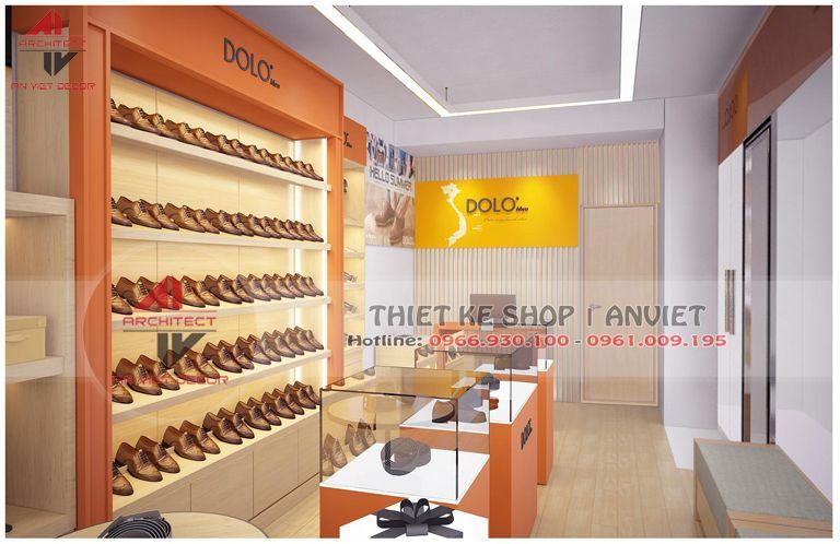 trang trí nội thất cửa hàng bán giày công sở tại dịch vọng hậu