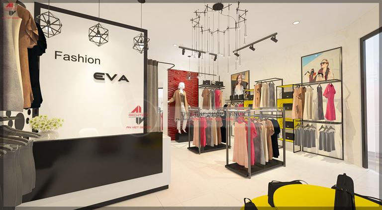 thiết kế nội thất shop thời trang 25m2 tại gia lâm
