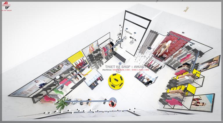 phối cảnh cửa hàng thời trang 25m2 tại Gia Lâm