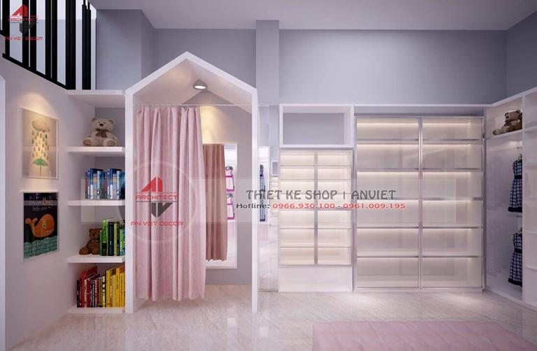 thiết kế shop quần áo thời trang trẻ em diện tích nhỏ